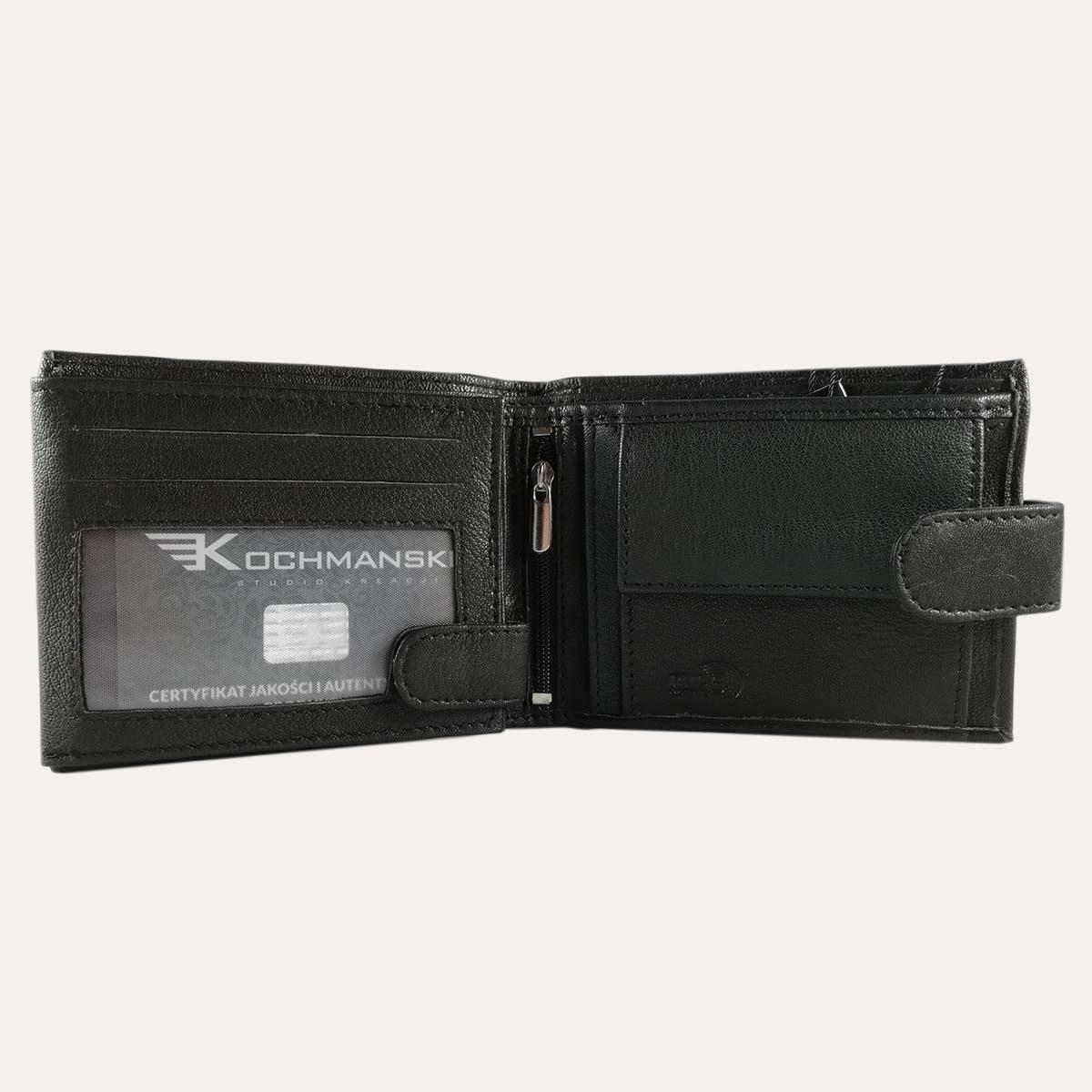 Pánská kožená peněženka Kochmanski černá se zapínáním RFID