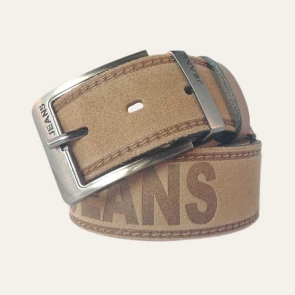 Pánský kožený opasek Jeans hnědý